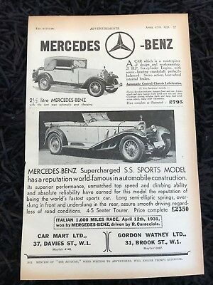 VERY RARE 1931 MERCEDES-BENZ (Model SS Sports) Old Vintage Car Advert L19