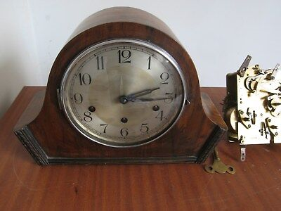 Antique Westminster Quarter Chime 8 Day Mantle Clock & Spare Chiming Movement X2