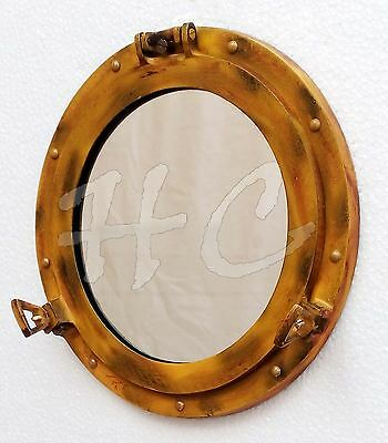 Antique Finish Ship Porthole Window Aluminum Porthole Mirror Nautical Wall Decor