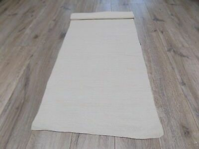 Homespun very thin Linen Fabric 1920s 3x0,5m Color White Great condition
