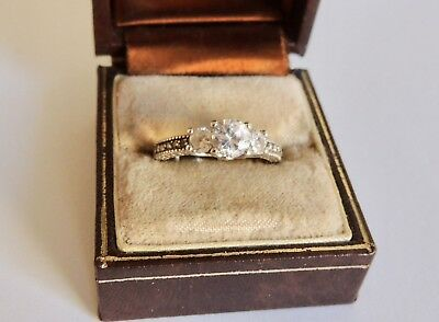 ANTIQUE, STERLING SILVER 925 ENGAGEMENT RING (Sz 8.5)