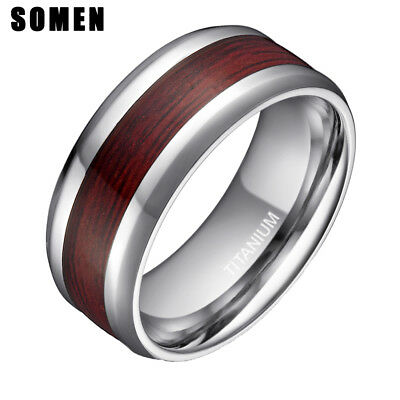 Male Wedding Bands.Real Wood Inlay Titanium Ring Male Wedding Band Engagement 8mm Jewelry Men New
