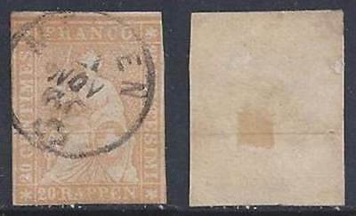 Switzerland Helvetia imperforate 1858 (Strubel) 20c FU sauber gestempelt