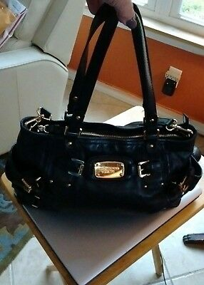 Michael Kors Ladies Large Black Leather Tote Handbag With Gold Hardware