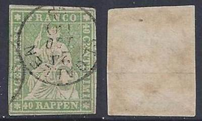 Switzerland Helvetia imperforate 1858 (Strubel) 40c VFU sauber gestempelt