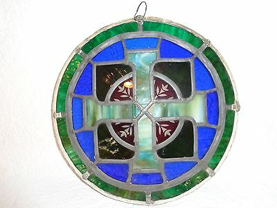 """Stunning Antique Circular Stained Glass Window, 14"""" in Diameter"""