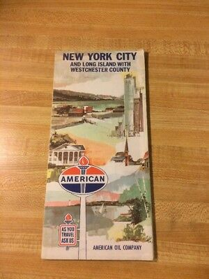 1960s AMERICAN OIL Road Map New York City , Long Island, Westchester County