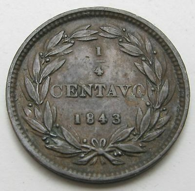 VENEZUELA 1/4 Centavo 1843 WW - Copper - VF+ - 2787 *