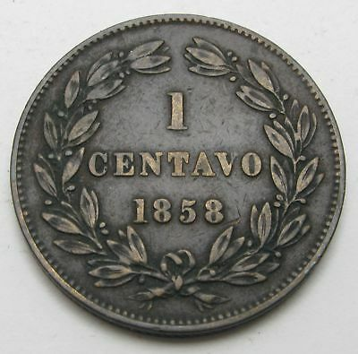 VENEZUELA 1 Centavo 1858 - Copper - VF - 2788 *