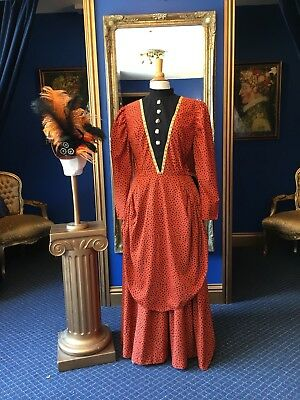 Stunning Theatrical Victorian Style Day Dress & Matching Hat, Beautiful Item!