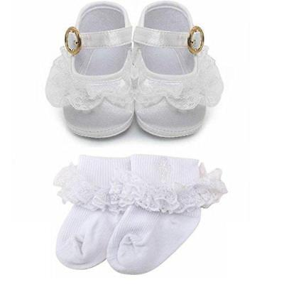 Delebao Baby Girl Infant Buckle Christening Satin Baptism Shoes Bootie Slippers