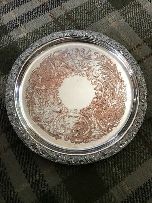 Heavy Reproduction Sheffield Plate Copper Snd Silver Plated Tray