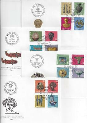Switzerland Pro Patria 1972-79, 8x FDC Archaeology, Castles (2 scans)