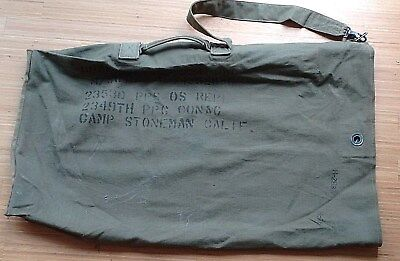 Vintage US military issue green canvas duffel bag named - WW2/Korean war