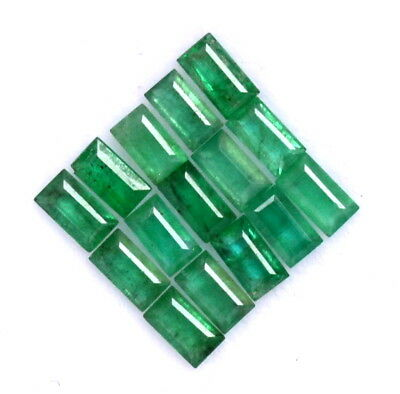 1.42 CTS Natural Emerald Baguette Cut Calibrated 3.50x2 mm 15 Pcs Loose Gemstone