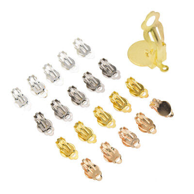 50Pcs Clip On Earring Finding DIY Gold Silver Loop Clasp For Jewelry Making