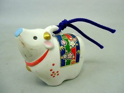 DR26 Japanese Dorei Clay Bell Vtg Hand Painted Cow Zodiac Lucky Ceramic