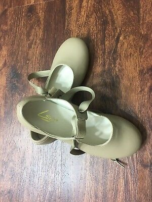 """""""NEW"""" LEO'S Dancewear Beige Tap Dancing Shoes Lace Tie Youth Girl's Size M 2 S"""