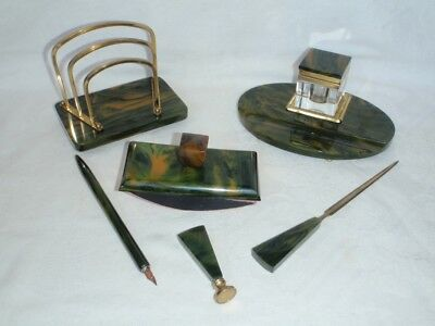 ART DECO - a set for your desk - Bakelite / Phenolic marbled Green / Yellow .