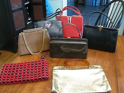 Collection of 7 Vintage 40's 50's and 60s Handbags Designer Lot