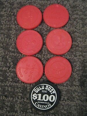 Club Cal-Neva Saloon Lake Tahoe Drink Tokens (6)-Gold Dust Reno $1.00 Token