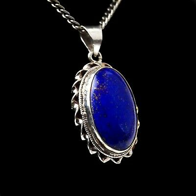 amulet pendant lapis lazuli silver women's real jewellery Decorated Gemstone
