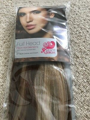 Wildest Dreams Clip In Full Head Human Hair Extensions 18 Inch Cookies and Cream