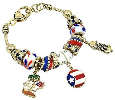 Euro Style Bracelet Oval Charm El Yunque Rainforest Puerto Rico Waterfall