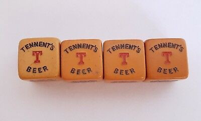 4 TENNANTS BEER Lager POKER DICE - 1950s Advertising - Playing Card Symbols