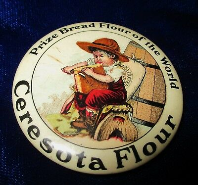 VINTAGE CELLULOID POCKET MIRROR ADVERTISING CERESOTA FLOUR Circa 1910