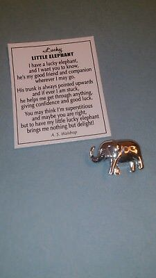 Vintage GANZ Lucky ELEPHANT Nougat in Silver Tone