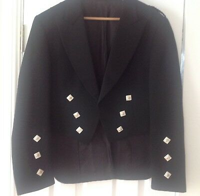 mens black prince charlie kilt jacket with silver buttons ex condition