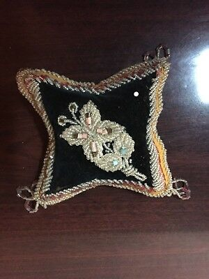 Antique Vintage Indian Iroquois Whimsey Beaded Floral Pin Cushion