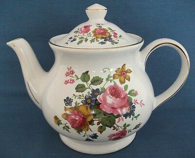 Sadler Pink Rose Bouquet Gold Full Size Teapot Tea Party Wedding Made In England
