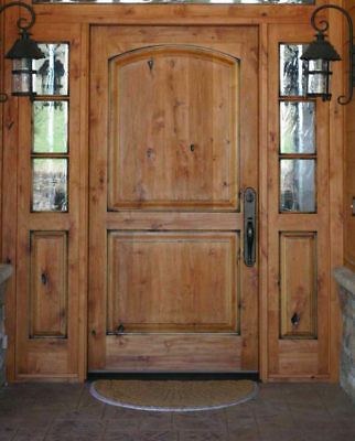 Tuscan Style Entry Door With 3 Lite Sidelites