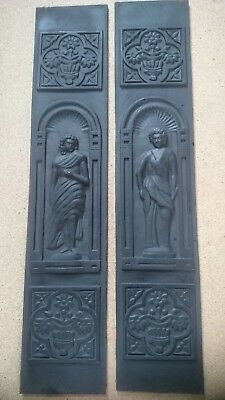 Pair of ornate cast iron panels for antique (or repro) fireplace