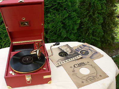 His Masters Voice  Luxus Koffergrammophon Gold und Leder !