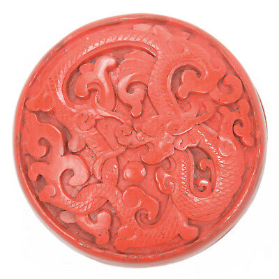 Vintage Chinese Carved Cinnabar Lacquer Round Scholar's Box Dragon Republic Old