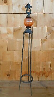 Vintage Cast Iron  Lightning Rod Amber Ball Weathervane  Lightning 33 1/2""