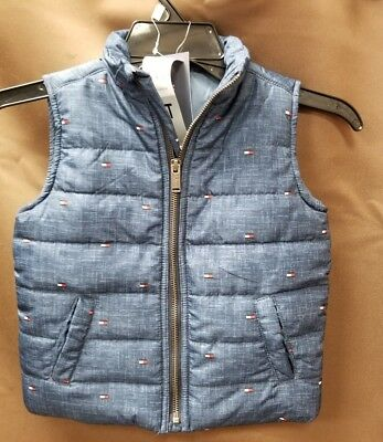 NEW Tommy Hilfiger Boys' Zip-Up Blue Logo Trending Puffer Vest Size 3T