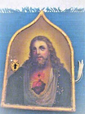 Original Antique Oil Painting On Wood Of The Sacred Heart Of Jesus