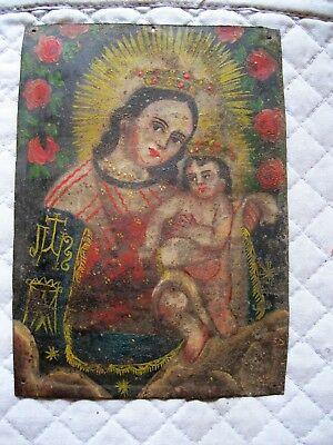 Beautiful Original Antique Retablo On Tin With  Image Our Lady Of Refuge