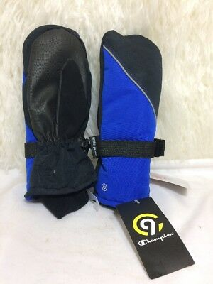 Champion C9 Boys Blue Black 3M Thinsulate Waterproof Ski Mittens Size 8-16