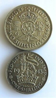 Great Britain Florin, Two Shillings, 1944 And 1943 One Shilling