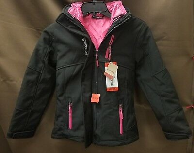 NEW Reebok Girls' Black/Pink 2 Jacket 3 Style Fleece Coat Jacket Size M-10/12