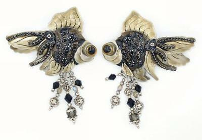 Gorgeous Lunch at the Ritz Enamel and Rhinestone Black Moor GoldFish Earrings