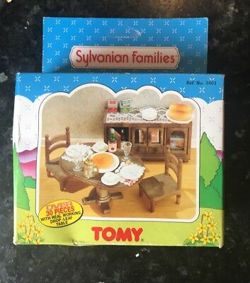 Sylvanian families dining room chairs table and sideboard TOMY VINTAGE