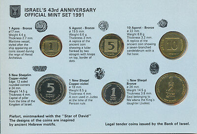 Israel, Official Mint Set 1991, 43rd Year of Staterhood, Piefort