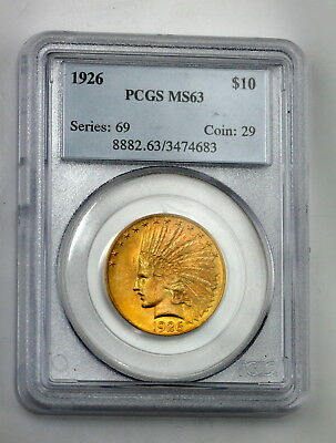 Pcgs Graded Ms63 1926 U.s. $10 Indian Head Eagle Gold Coin No Reserve #1659