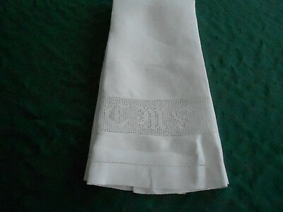 Antique Damask Towel, Large White Towel With Crochet Insert, Circa 1920